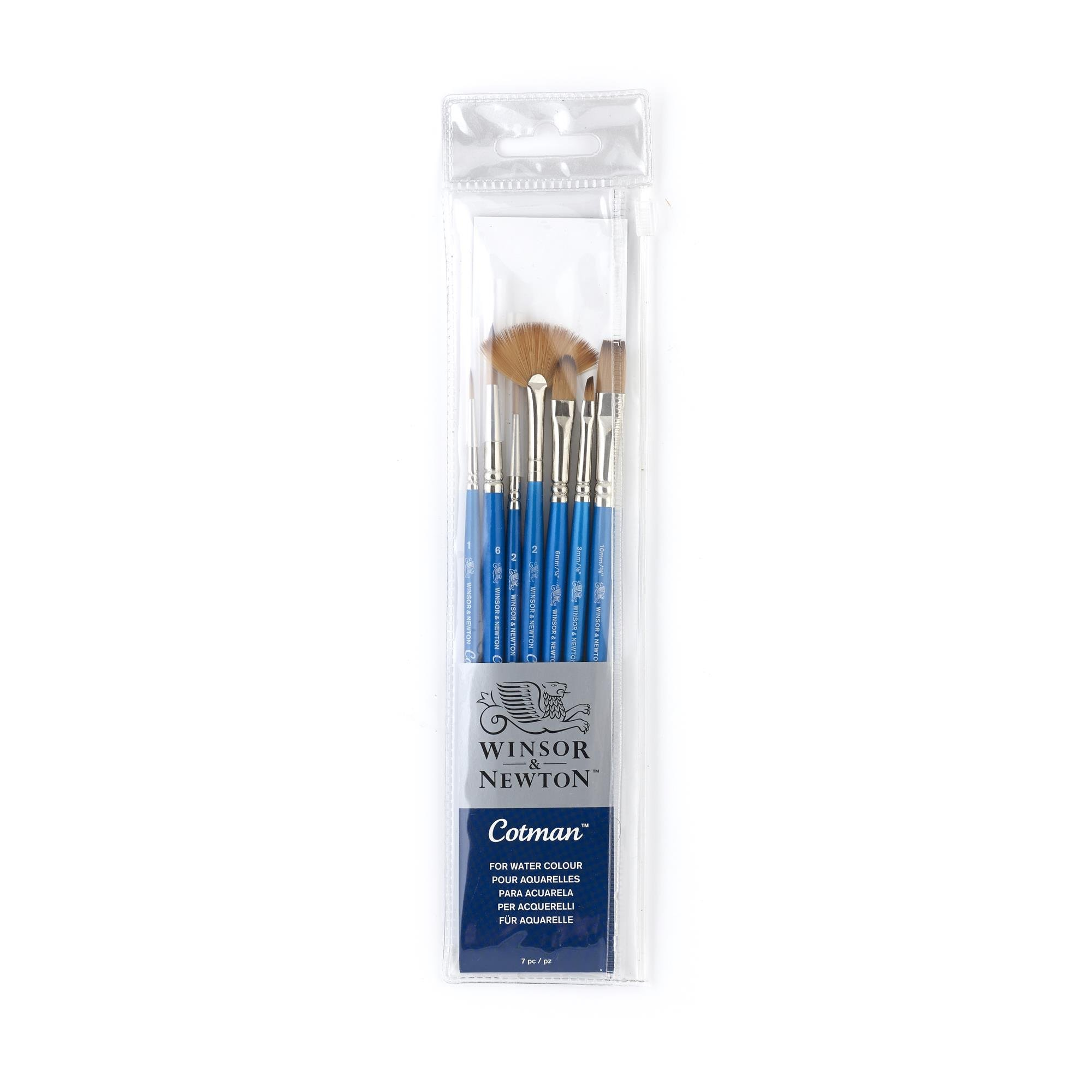 Winsor & Newton Cotman Short Handle Brush (7 Pack) (Round 1 & 6, Rigger 2, Filbert 1/4'', One Stroke 3/8'', Angled 1/8'', Fan 2) by Winsor & Newton (Image #1)