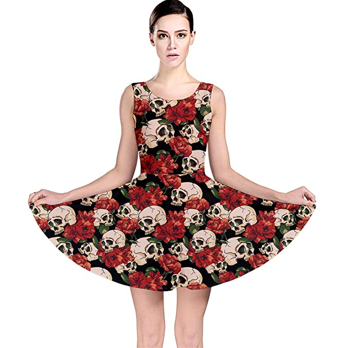 CowCow Brown Skull and Flowers Day of The Dead Vintage Skater Dress ... 476b8c074