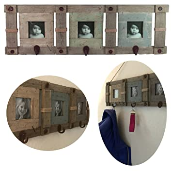LS LebenStil XL Holz Wandgarderobe Bildergalerie Braun 65x20x5cm Shabby  Rustikal Garderobe Bilderrahmen