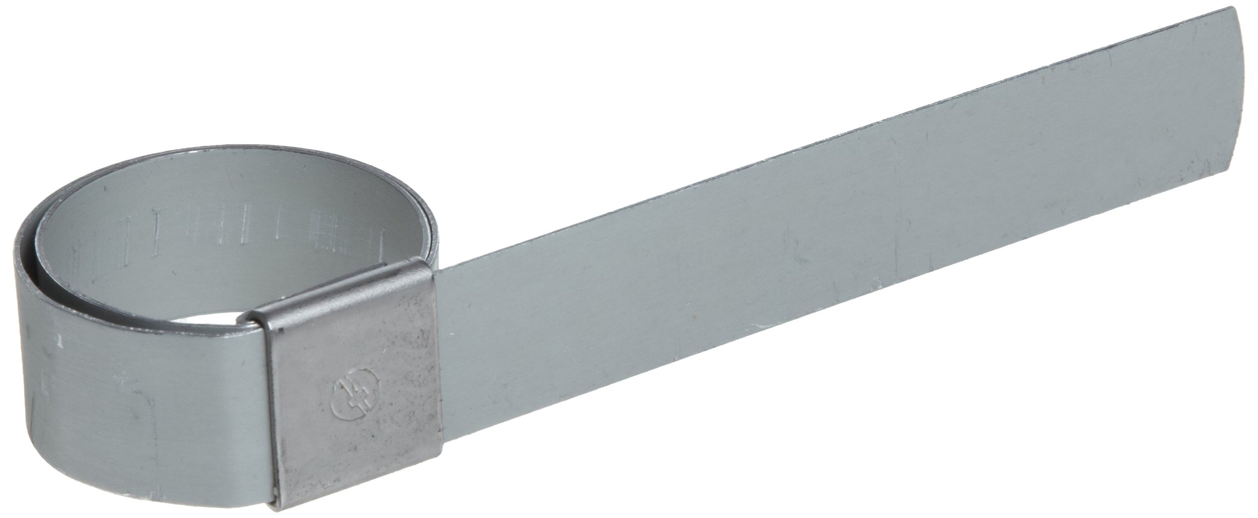 BAND-IT CP0599 5/8'' Wide x 0.025'' Thick 1-1/4'' Diameter, Galvanized Carbon Steel Center Punch Clamp (100 Per Box)