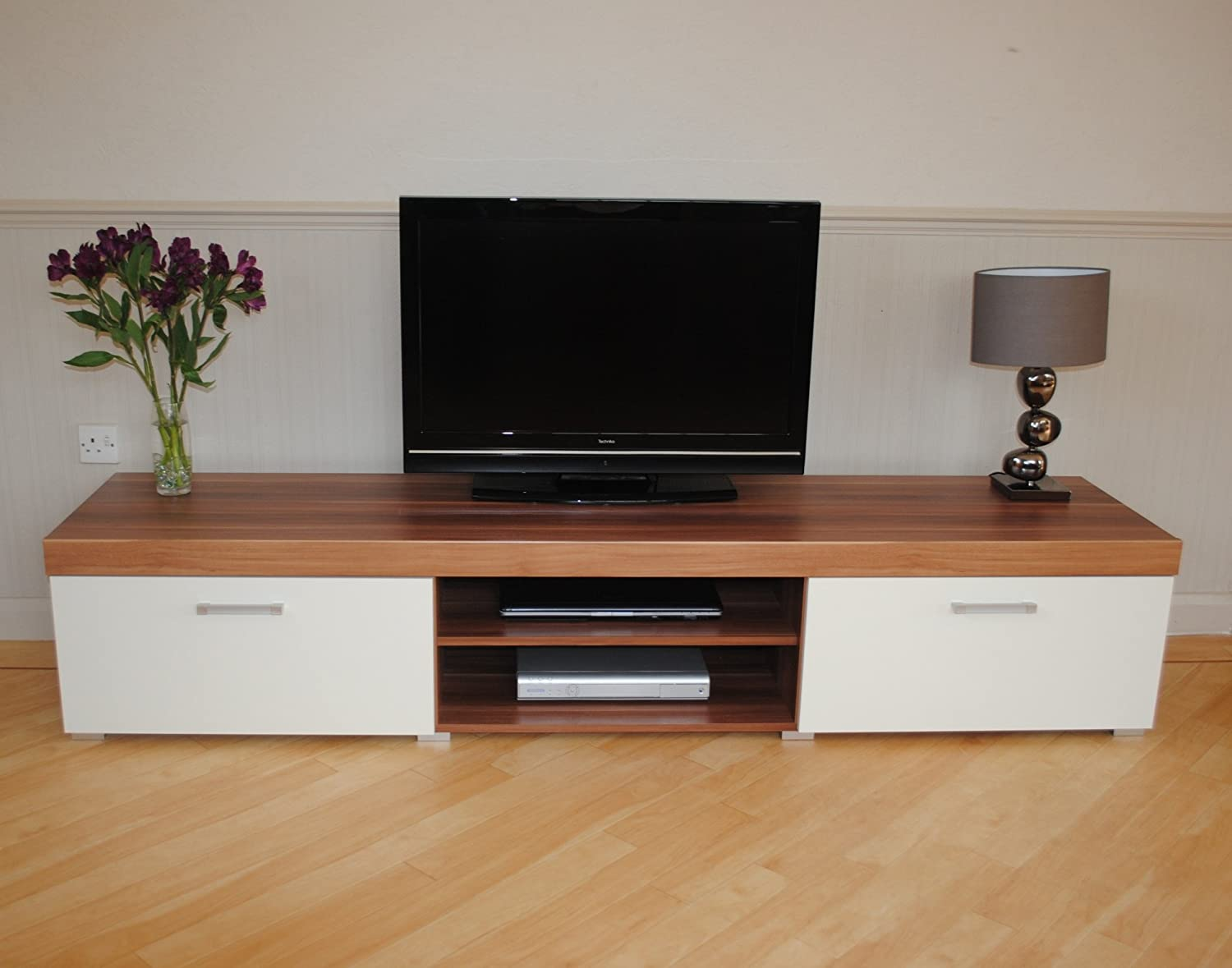 White U0026 Walnut Sydney 2 Metre TV Cabinet U0026 Large Sideboard Unit Living Room  Furniture Set: Amazon.co.uk: Kitchen U0026 Home