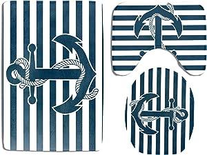 Nautical Bathroom Rug Set 3 Piece Navy Anchor Blue Stripe Background Non Slip Bath Carpet Mat U-Shaped Contour Mat Toilet Lid Cover Sets Durable Flannel Home Washroom Decor Shower Accessories