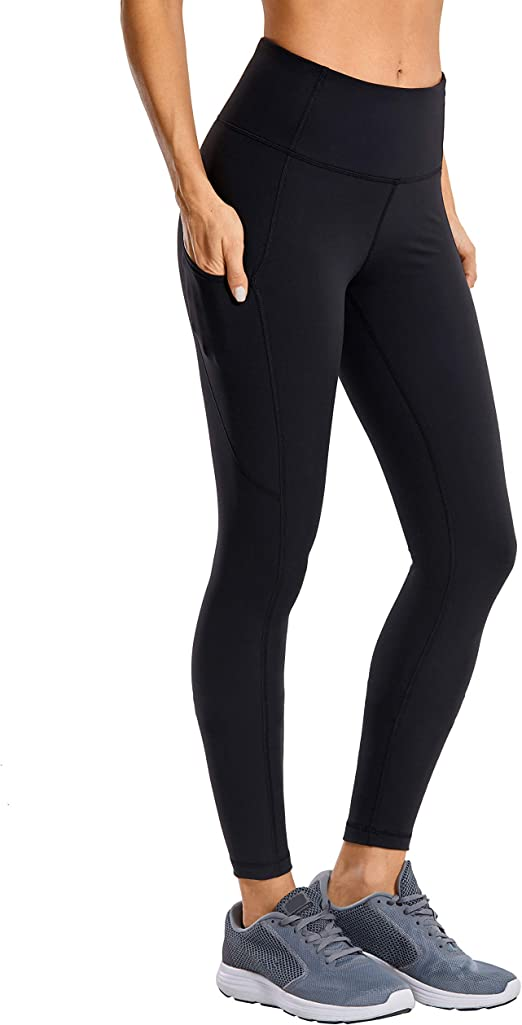 CRZ YOGA Womens Thermal Fleece Lined Leggings High Waisted Winter Yoga Pants with Pockets-28 Inches