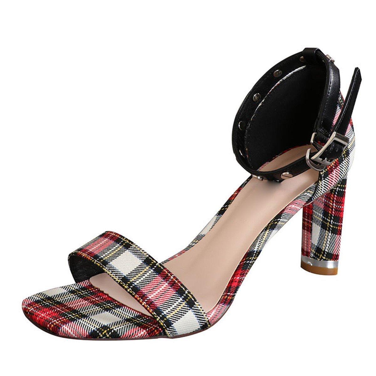 Zapatillas Sandalias Zapatos  Verano, Punta Abierta, Tela Escocesa, tacón Fornido, Tacones Altos de 8 cm, Remaches, Sandalias de un Solo botón 38 EU Mig