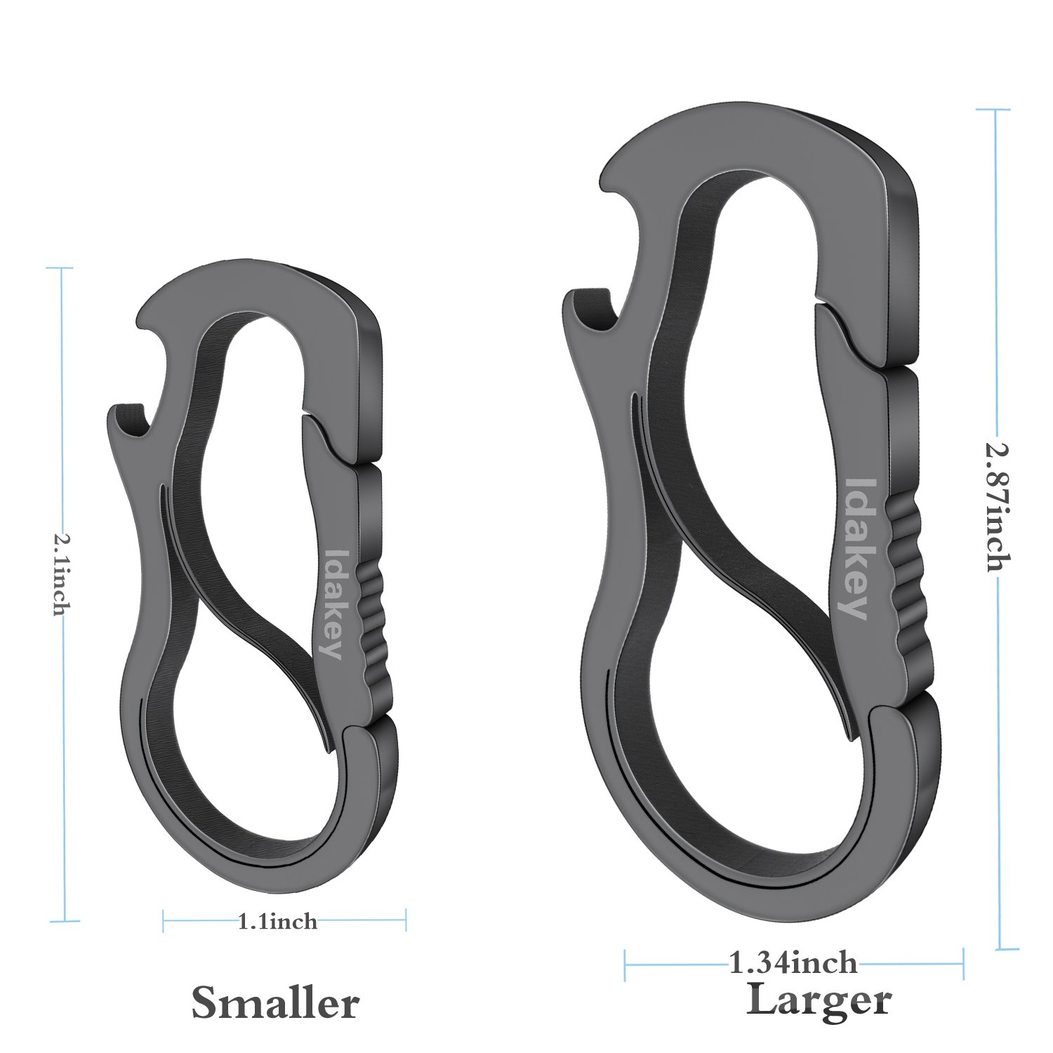 Idakey Full Stainless Steel Anti-Lost Keychain Carabiner Mutil Function Home Tool with Bottle Opener for Home Larger Version