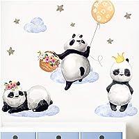 Little Deco-dekal tre panda I S – 55 x 34 cm (BxH) I luftballong krona blommor väggbilder väggtatuering barnkammare djur…