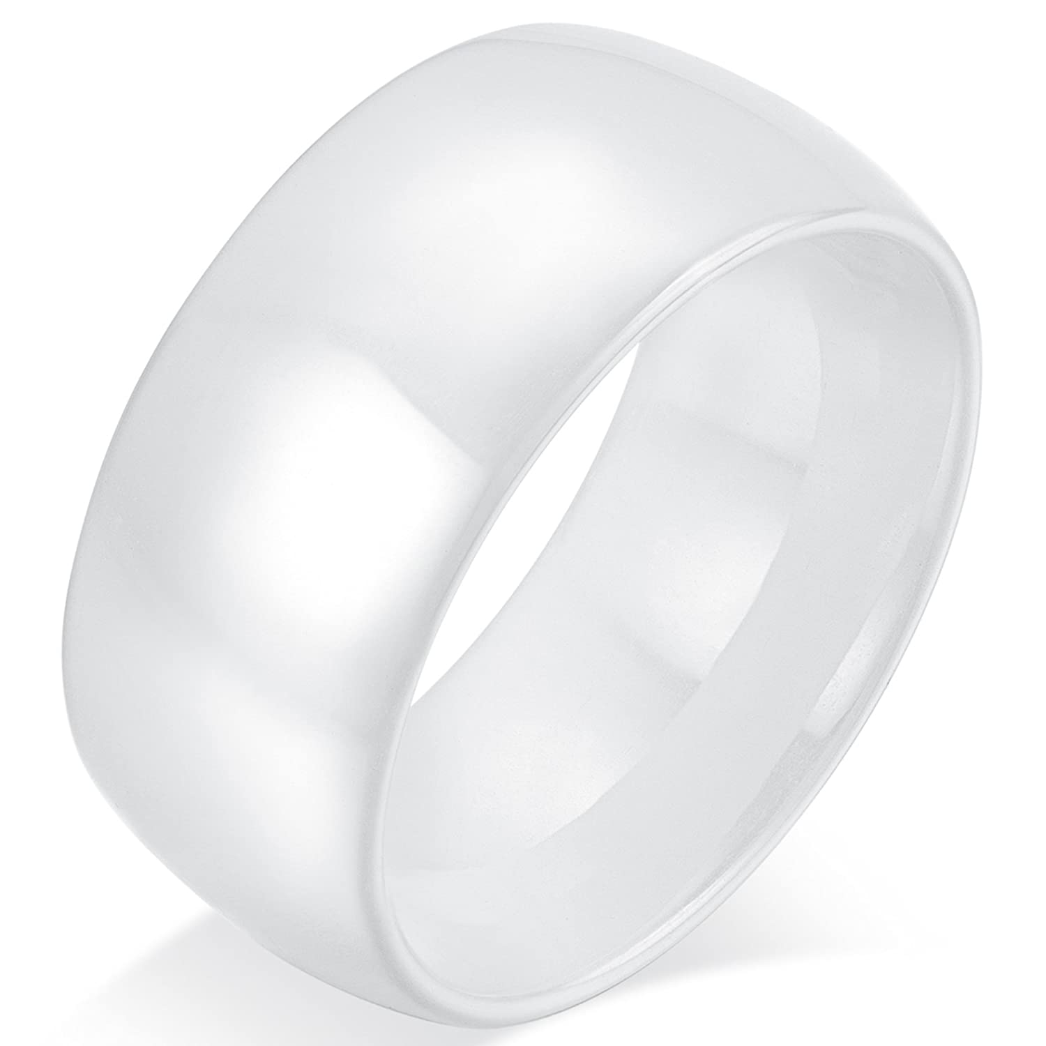 Mens Womens 12mm White Ceramic Wedding Ring Engagement Band High Polished Domed Design Comfort Fit