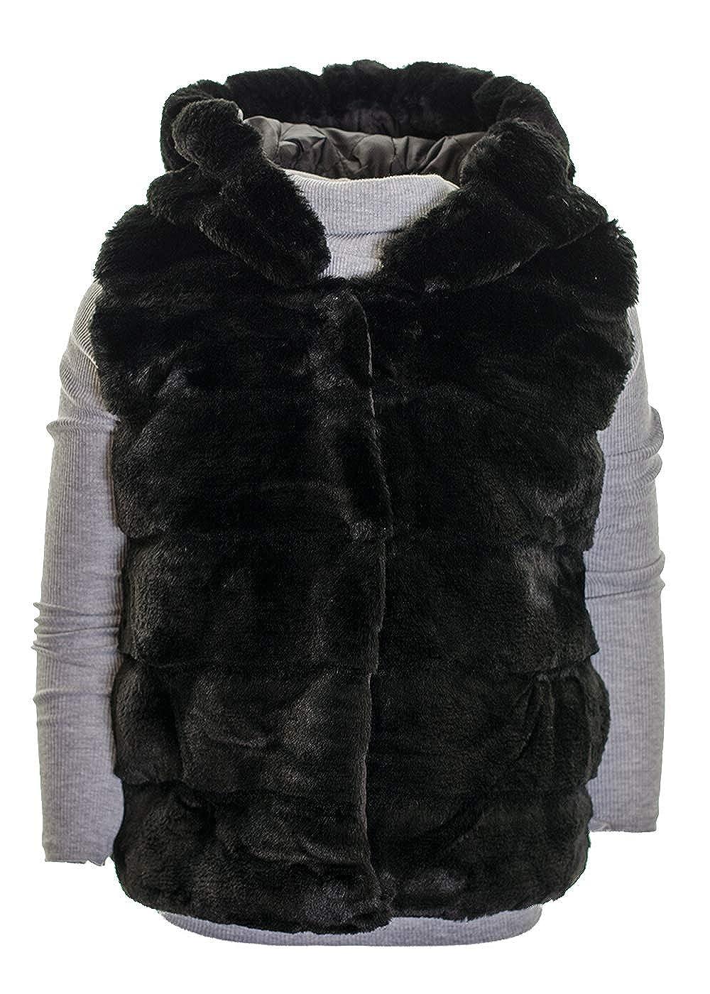 Girls's Faux Fur Hooded Gilet Mid Length Warm Winter Fashion Body Warmer Black