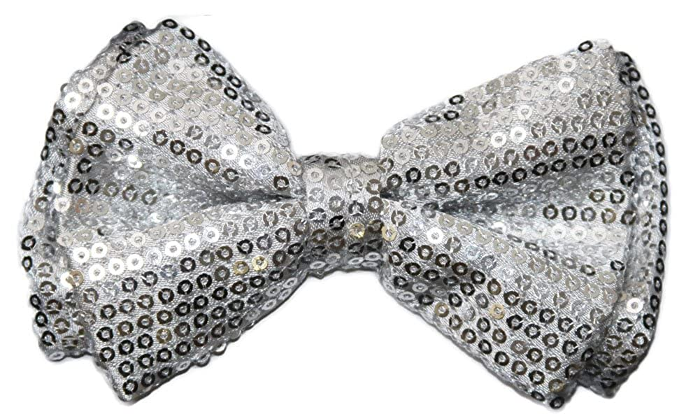 Pre-tied Bow Tie in Coool Brand Gift Box Silver Sequins