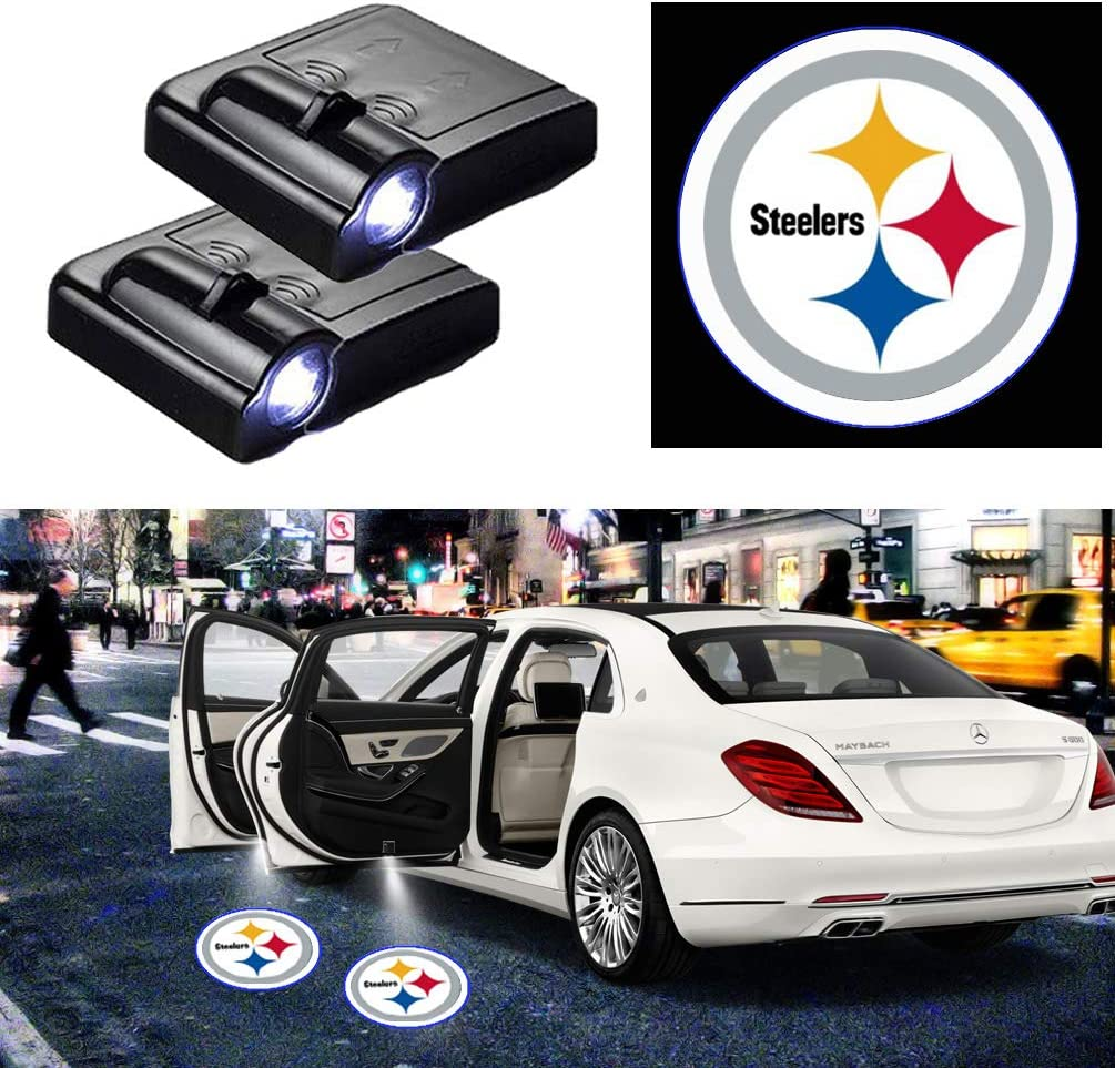 KENPENRI LED Door Projector Light New England Patriots for New England Patriots Car Door Led Welcome Laser Projector Suitable Fit for All Brands of Cars