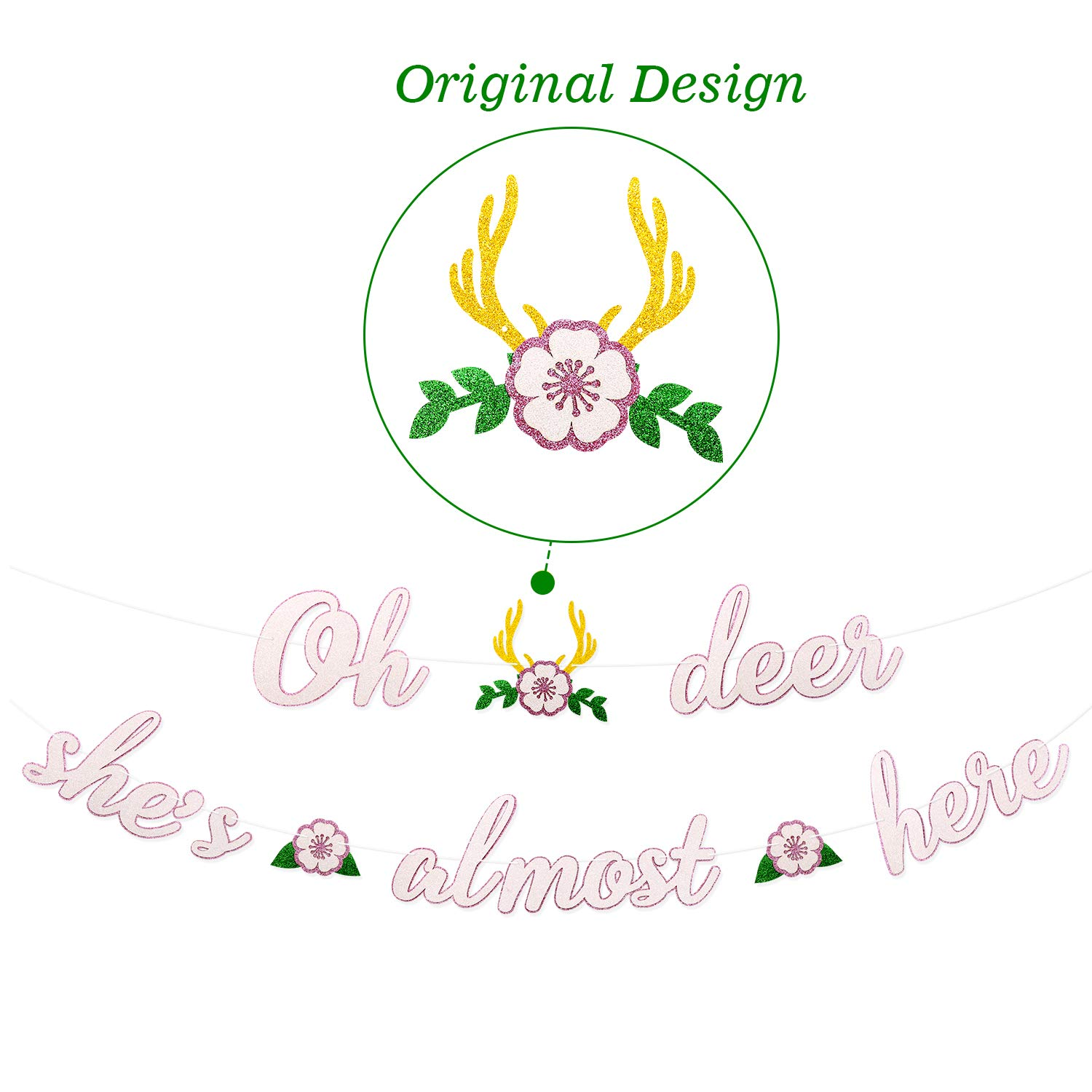 Deer Baby Shower Banner Oh Deer She's Almost Here Banner with Deer Antler and Flowers Boho Floral Themed Party Decor Woodland Animal Baby Shower Pink and White Decoration Homemade by Faisichocalato (Image #3)