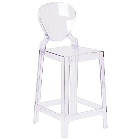 Amazing Flash Furniture Ghost Counter Stool With Tear Back In Transparent Crystal Unemploymentrelief Wooden Chair Designs For Living Room Unemploymentrelieforg