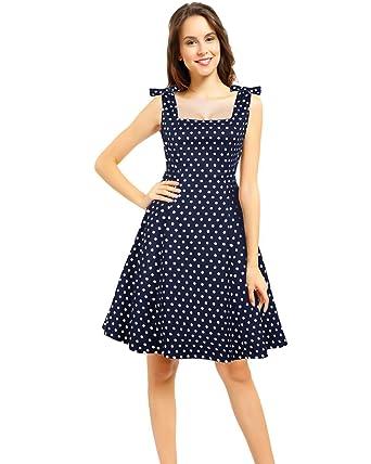 291e57c53 Pinup Fashion Women's 1950s Vintage Retro Bowknot Polka Dot Rockabilly Swing  Dress Sleeveless Navy-S