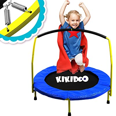 "Toddler Trampoline With Handle - 36"" Kids Trampoline With Handle - Mini Trampoline w/ Sturdy Frame, Coil Spring, Safety Padded Cover -Heavy Duty Mini Trampoline Indoor Outdoor Toddler Trampoline : Sports & Outdoors"