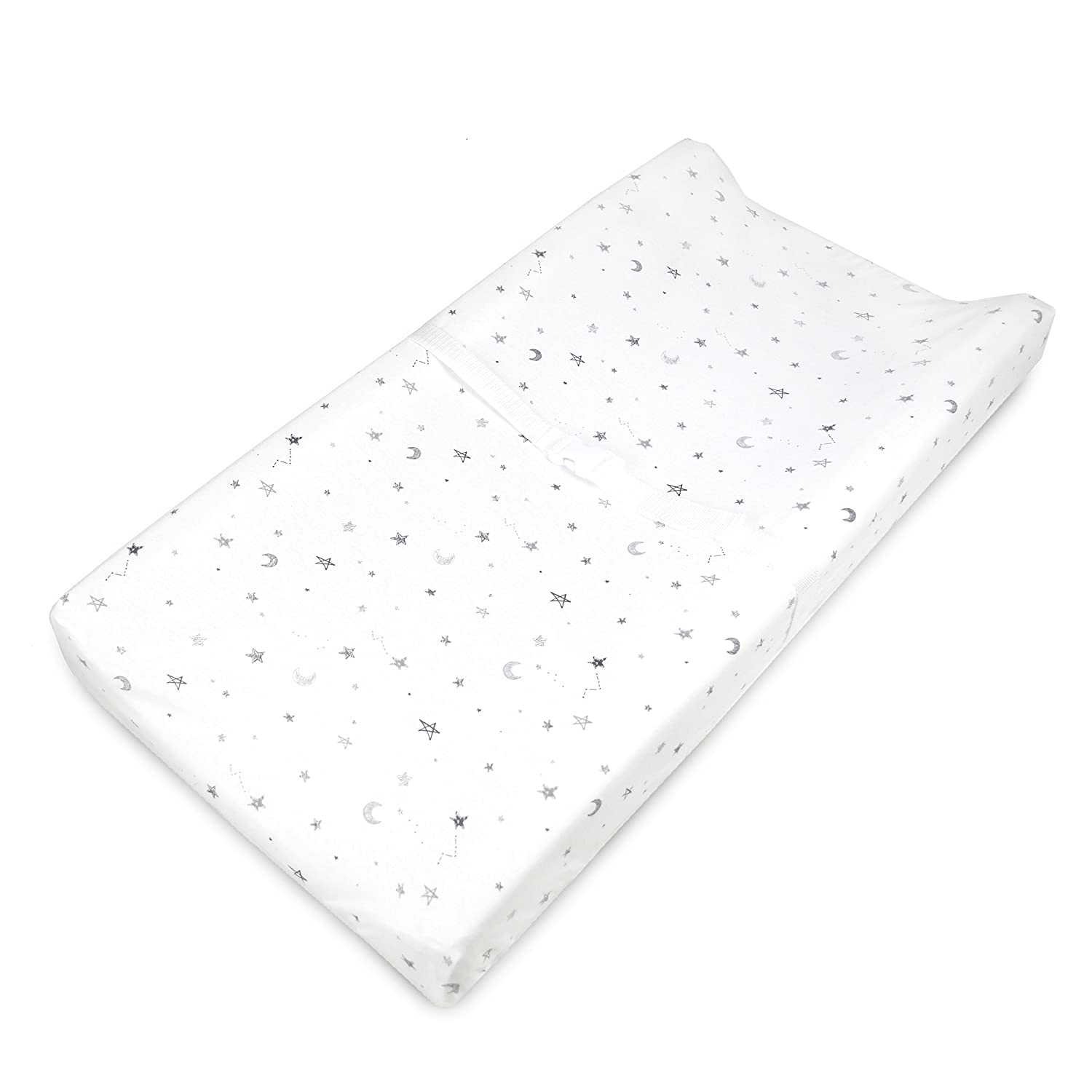 American Baby Company Printed 100% Natural Cotton Jersey Knit Fitted Contoured Changing Table Pad Cover, auch Works mit Travel Lite Mattress, Grey Stars und Moon, Soft Breathable, für Boys und Girls