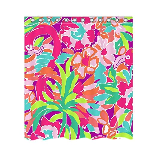 Lilly Pulitzer Personalized Custom 66 quot  x 72 quot  Waterproof Polyester  Fabric Shower Curtain ... 2d48db49aaec