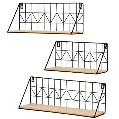 Mkono Wall Mounted Floating Shelves Set of 3 Rustic Metal Wire Storage Shelves Display Racks Home Decor