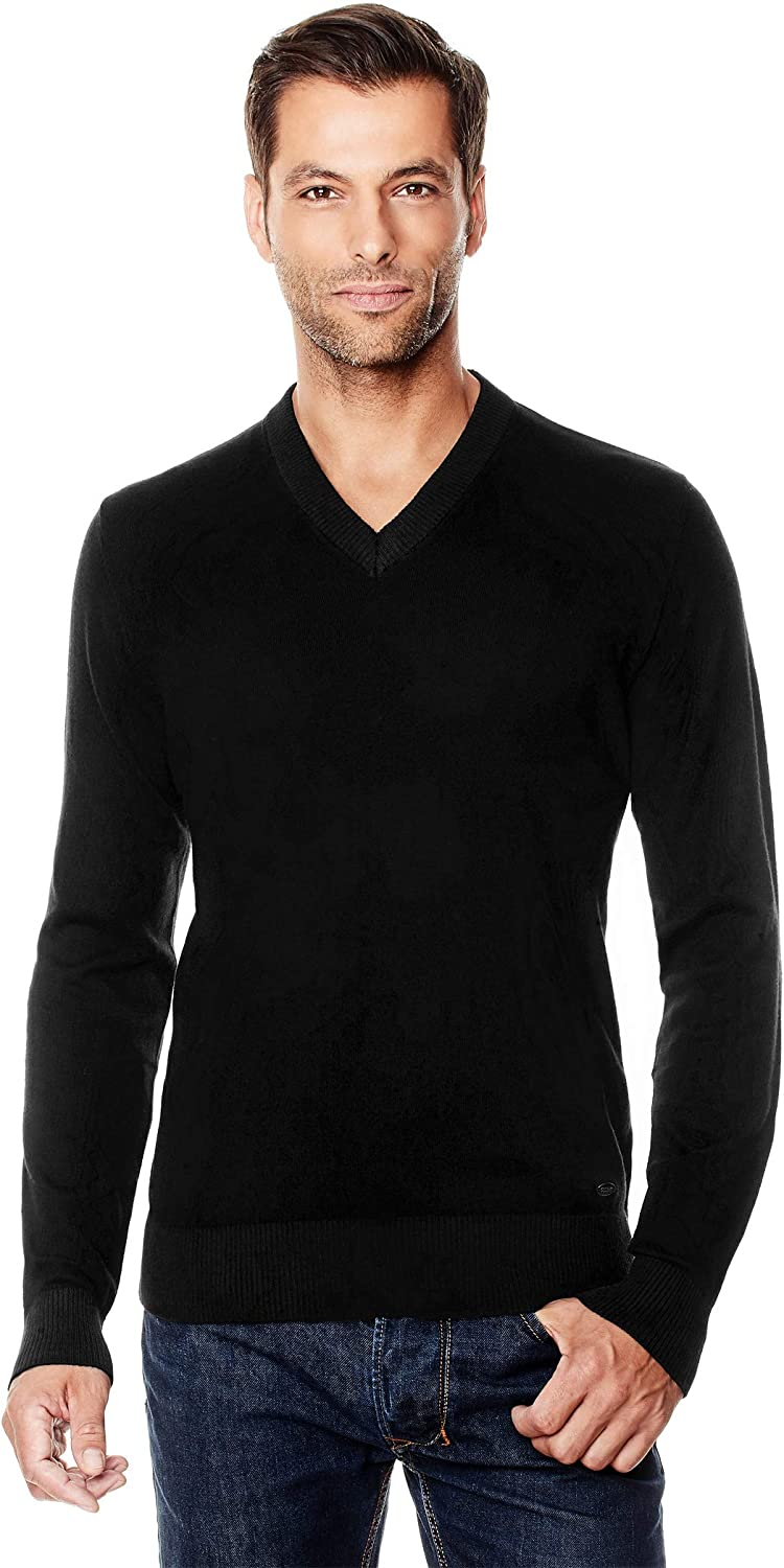 Vincenzo Boretti Mens Pull-Over Knitted Long-Sleeve Jumper Slim fit v-Neck Warm Lightweight Soft Cotton-Blend Plain Colour Elegant Style for Business Work and Everyday Casual