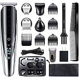 Hattteker Mens Hair Clipper Beard Trimmer Grooming kit Hair trimmer Mustache trimmer Body groomer Trimmer for Nose Ear Facial Hair Cordless Waterproof 5 In 1