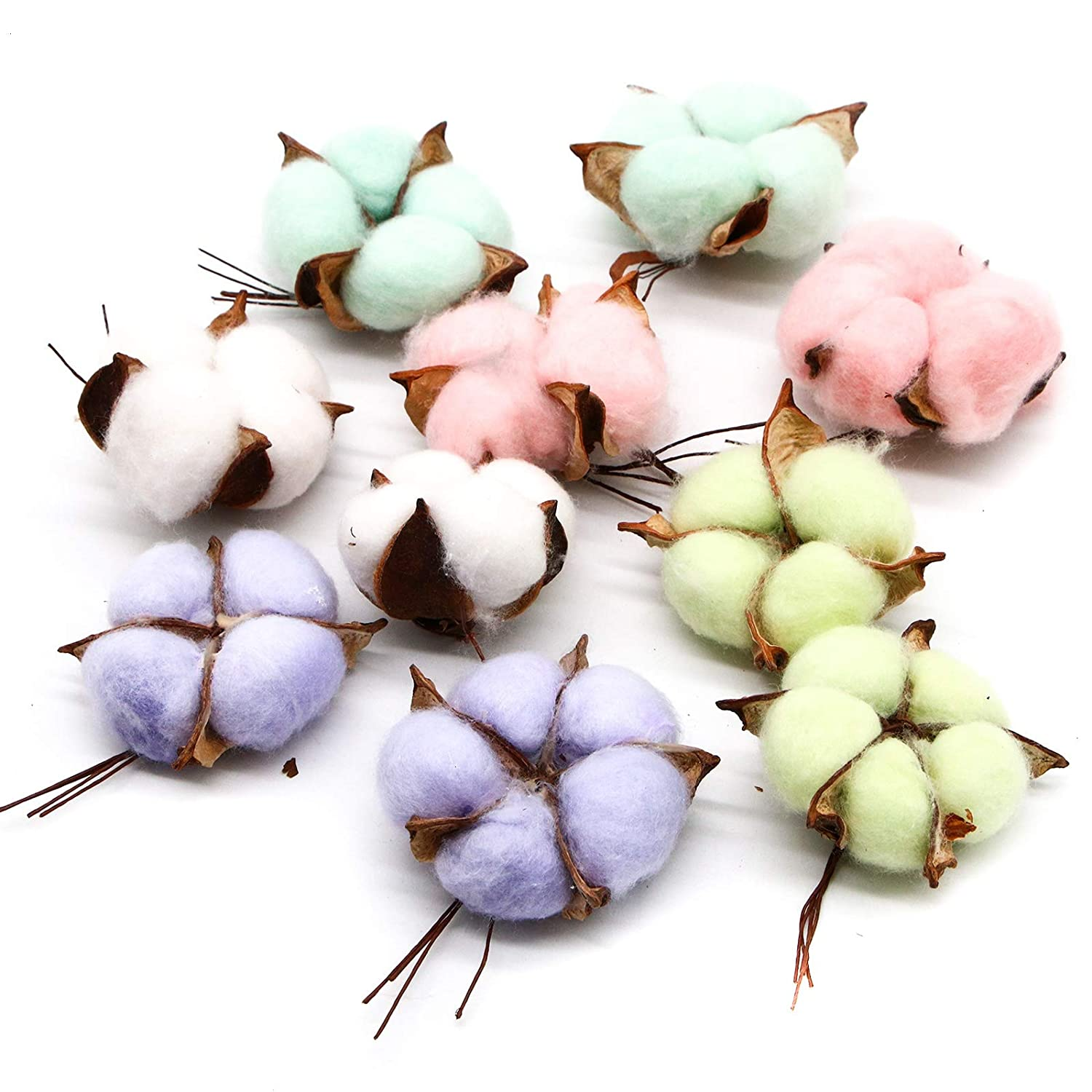 WSSROGY 10 Pcs Natural and Synthetic Bend Dried Cotton Bolls Colorful Cotton Balls for Crafting Farmhouse Style