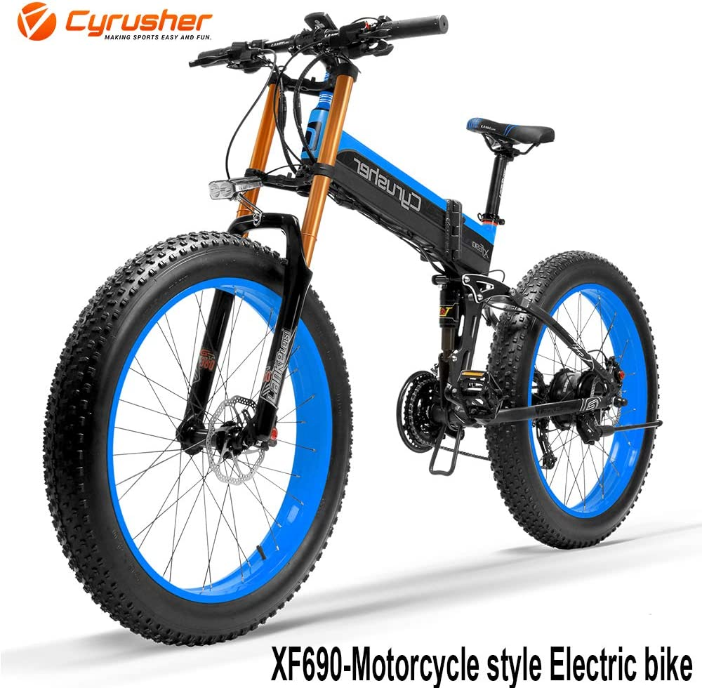 UP To 30% Off on Cyrusher XF690 Electric Folding Bike 500W 48V 264 Fat-tire Ebike 7 Speeds Bikes with 10Ah Hidden Lithium Ion Battery