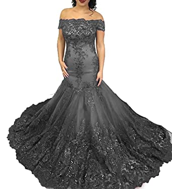 Fashionbride Womens Lace Off Shoulder Prom Dresses 2018 Sweep Train Long Evening Dresses Party Gowns F707GY
