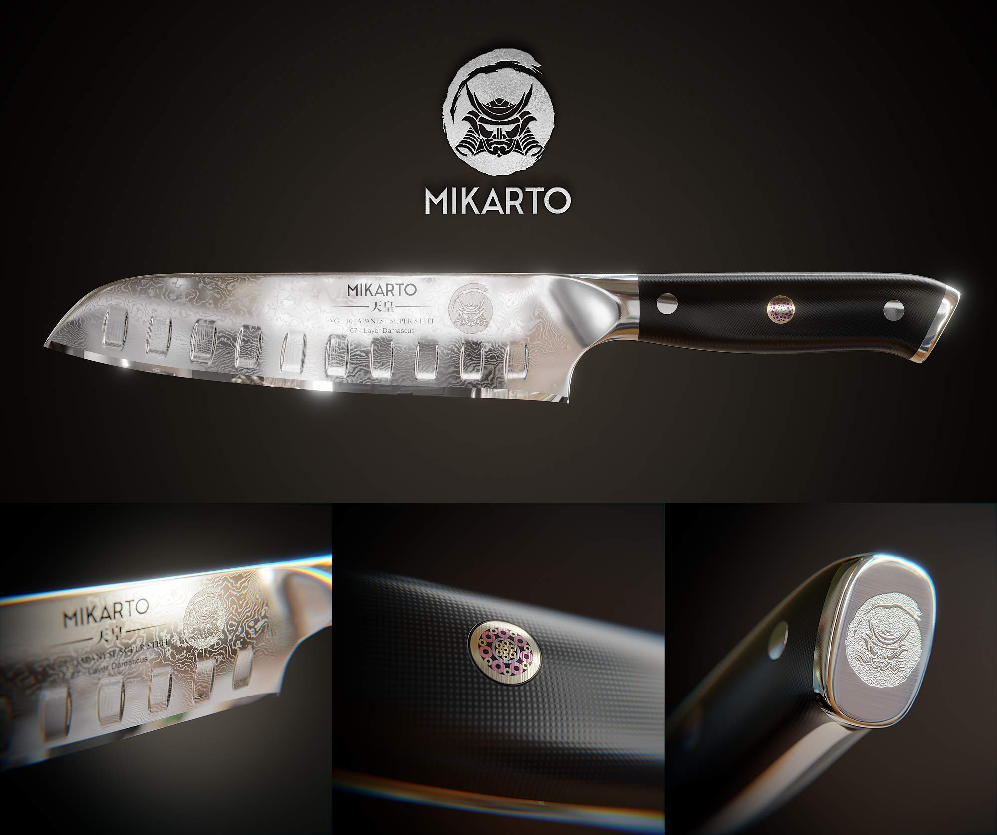Santoku Japanese Chef Knife, 7 inch, Professional Grade - Damascus Stainless Steel Knife with Tsunami Rose Finish - Ultra Sharp, High Carbon Kitchen Knives - Quality, All Purpose, Precision Cutting by MIKARTO Knife Ware (Image #3)