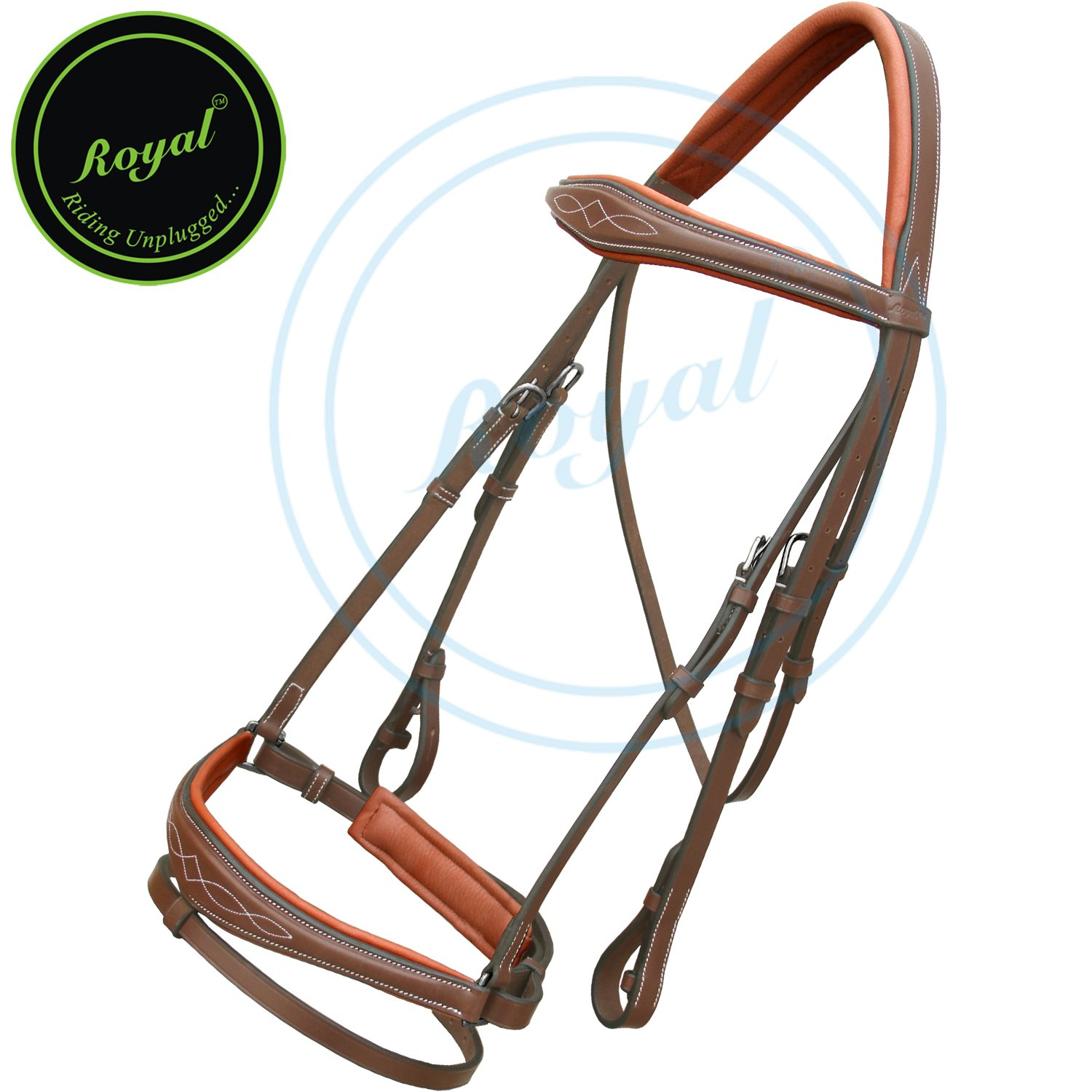 Royal Fancy Anatomic Leather Bridle with PP Rubber Grip Reins and Stainless Steel Buckles | Equestrian Show Jumping Padded Bridle Set | English Horse Riding Premium Tack ROYAL SPORTS 88