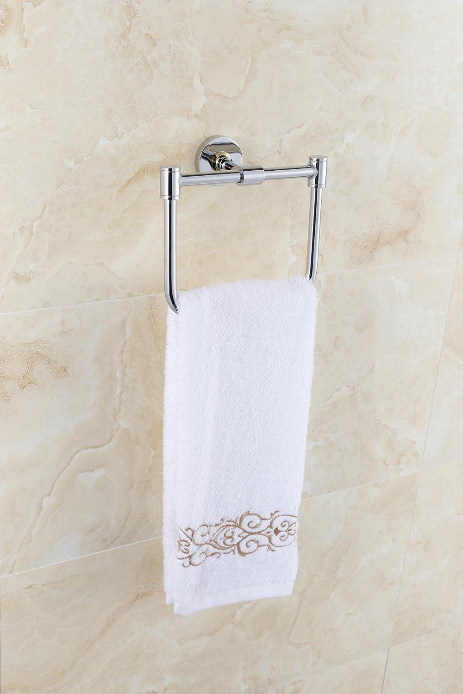 Accesorios de baño Yomiokla - Toalla de metal para cocina, inodoro, balcón y bañoMontado en la pared toalla Toalla de acero inoxidable 304 anillo cuadrado ...