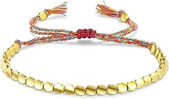 Tibetan Copper Beads Bracelet Handmade Braided Fringe Lucky Bracelet Friendship for Mother Grandma