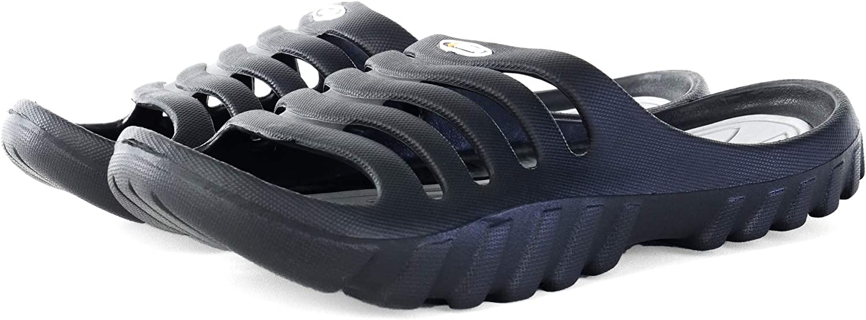 10-11 D M Black and Gray US Vertico Mens Shower and Pool Slide On Sandal