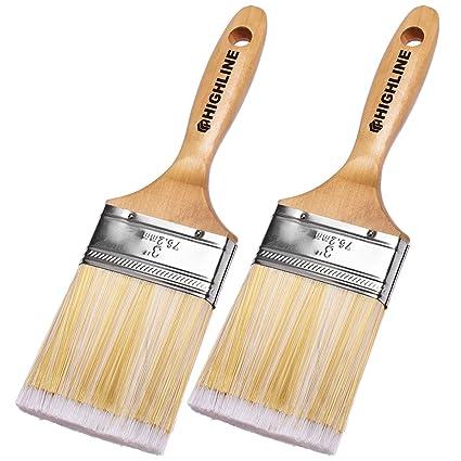 amazon com 2 pack 3 wide highline premium bristle paint brushes