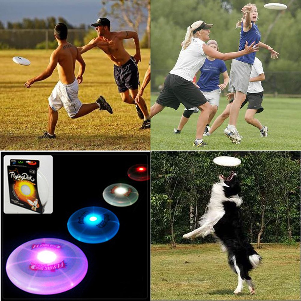 Flying Disc CFTech Ultimate LED Light Up Sport Disc Glow in the Dark Durable and Long Flight, 127 Gram, Diameter 9.8 inch by CFTech