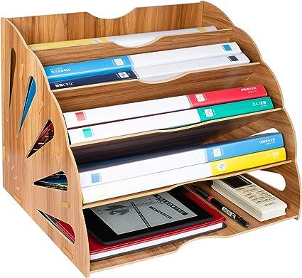 Tonsmile Organisateur De Fichiers Trieur En Bois Classement Papier Bureau Rangement Pour Papier A4 Magazine Et Document 34 28 28cm Amazon Fr Fournitures De Bureau