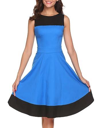 1e2d952b94 ACEVOG Women's 1950's Colorblock Knee-Length Sleeveless Vintage Swing Party  Dress