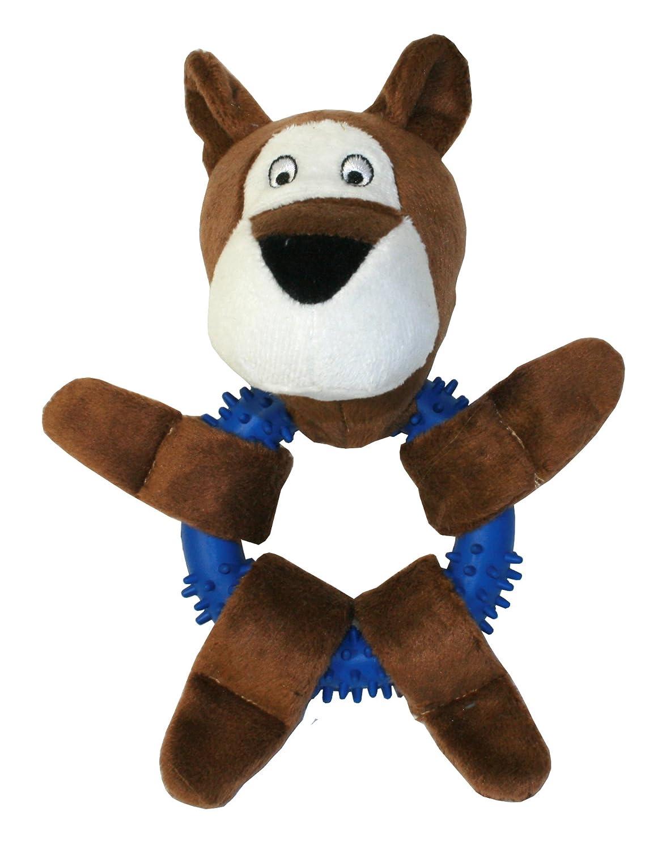 Pet Buddies PB1156 Bear on a Ring Plush Dog Toy