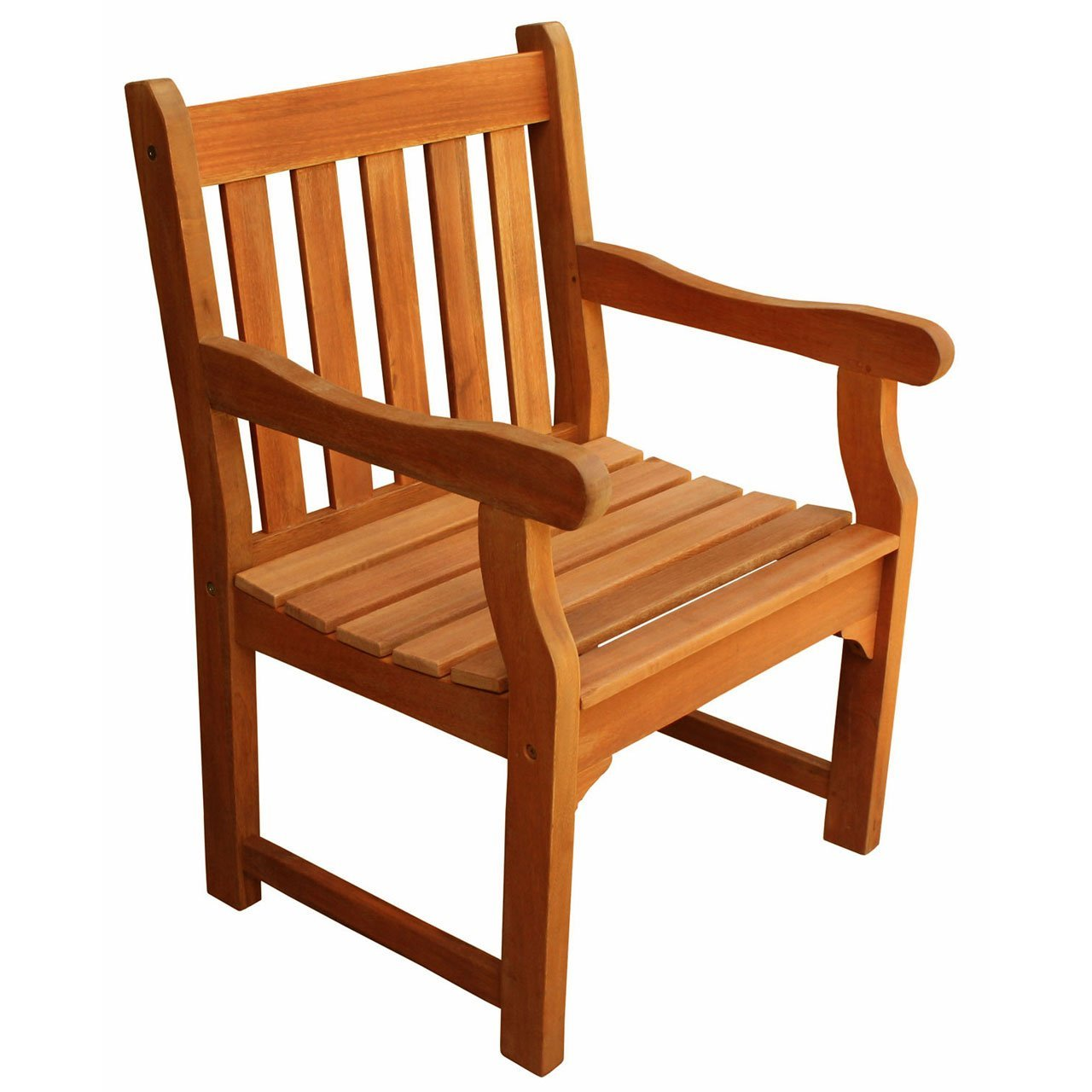 LuuNguyen Adam Outdoor Hardwood Dining Arm Chair Natural Wood Finish