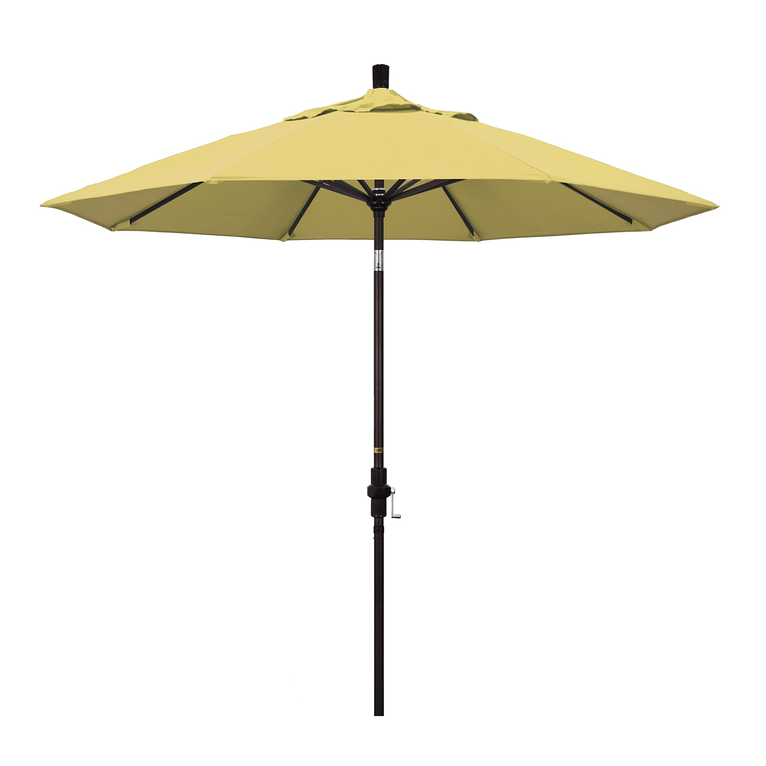 California Umbrella 9' Round Aluminum Market Umbrella, Crank Lift, Collar Tilt, Bronze Pole, Sunbrella Wheat