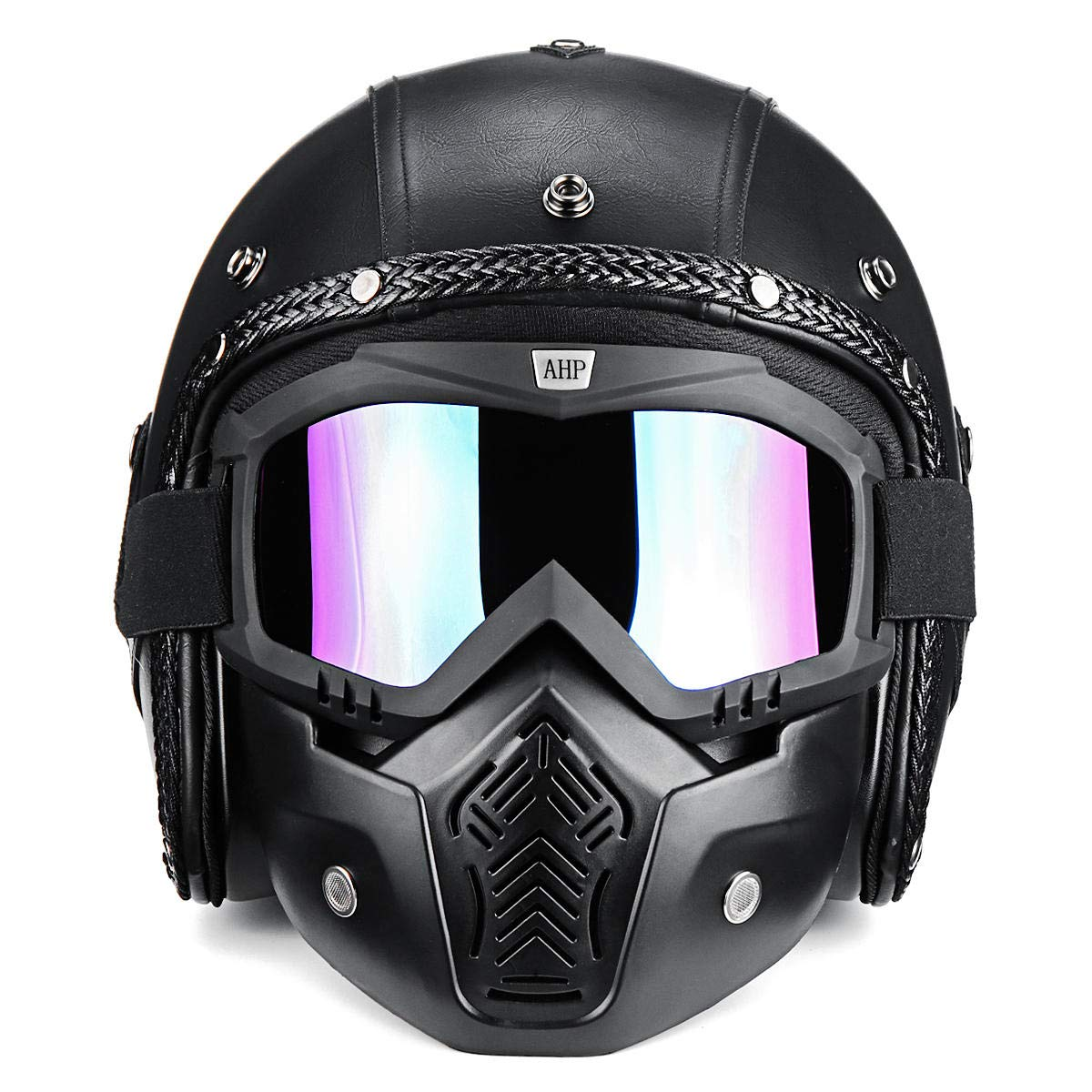 Leno 3/4 Open Chopper Motorcycle PU Leather Helmet+Face Mask with Glasses for Harley