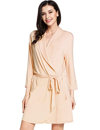 5c7078fe63da Avidlove Womens Bathrobe Three Quarter Sleeve Robe Cotton Comfort Sleepwear  Apricot Robe X-Small