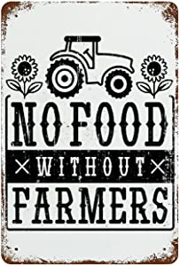 Old-fashioned home decoration Iron Painting Hanging Pictures Farmhouse Metal Signs Poster No Food Without Food Tin Sign tin wall art for Kitchen Home Garage Bar Pub Outdoor Retro Art Sign W8xH12 Inch