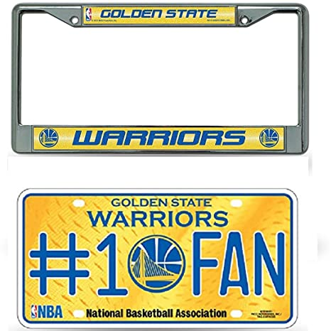 19e0ec27fcc9a9 Amazon.com : Rico Industries NBA Golden State Warriors Bling Chrome License  Plate Frame with Warriors #1 Fan Metal License Plate Tag : Sports & Outdoors