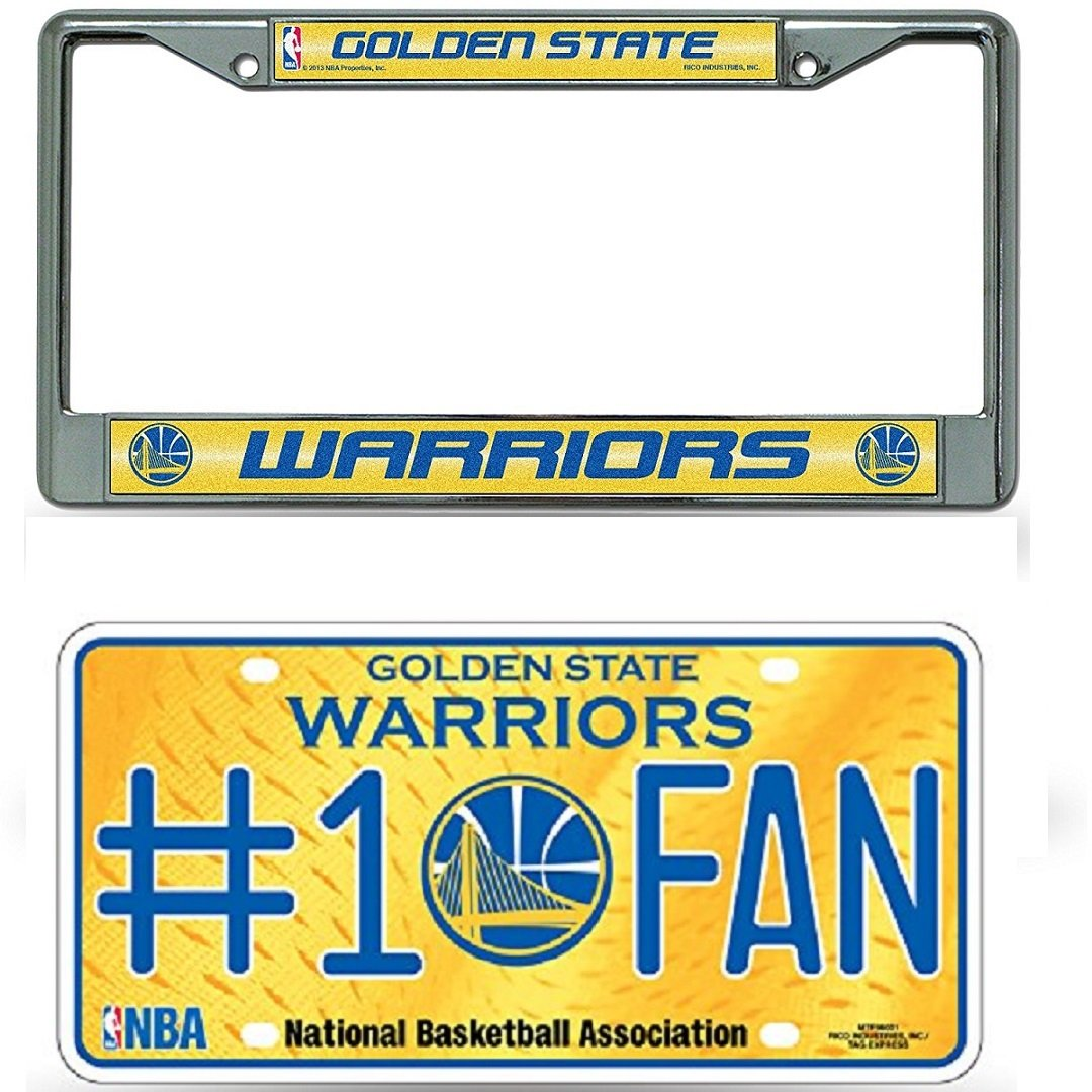 Rico Industries NBA Golden State Warriors Bling Chrome License Plate Frame with Warriors #1 Fan Metal License Plate Tag