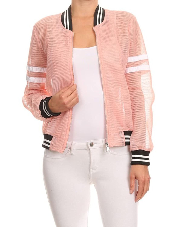 makeitmint Womens Cool Mesh Zip-Up Summer Bomber Jacket w// Stripe