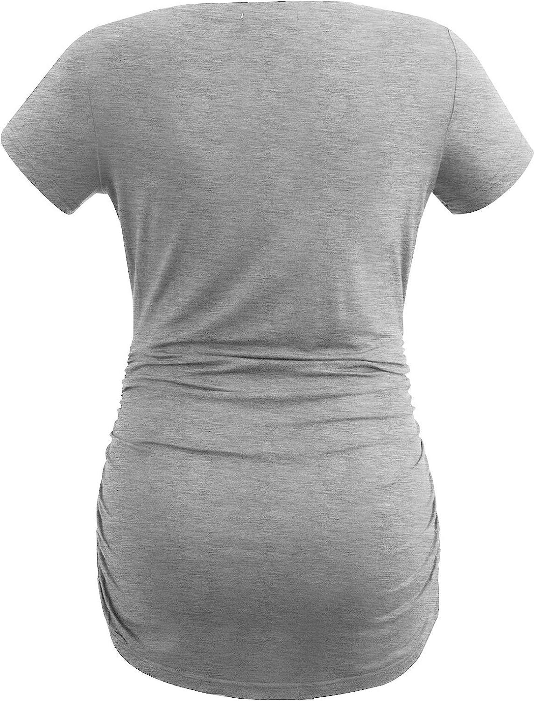 Smallshow Haut de Maternit/é /à Manche Courte T-Shirt Fronc/é de Grossesse pour Femmes