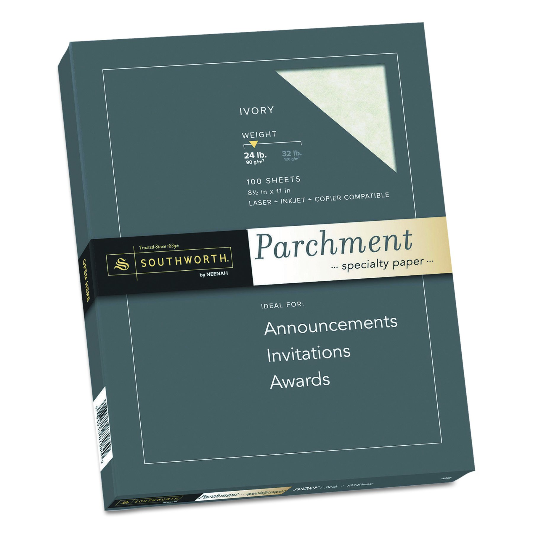 Parchment Specialty Paper 24 lbs 8-1/2 x 11 - 100/Box, Ivory by Southworth