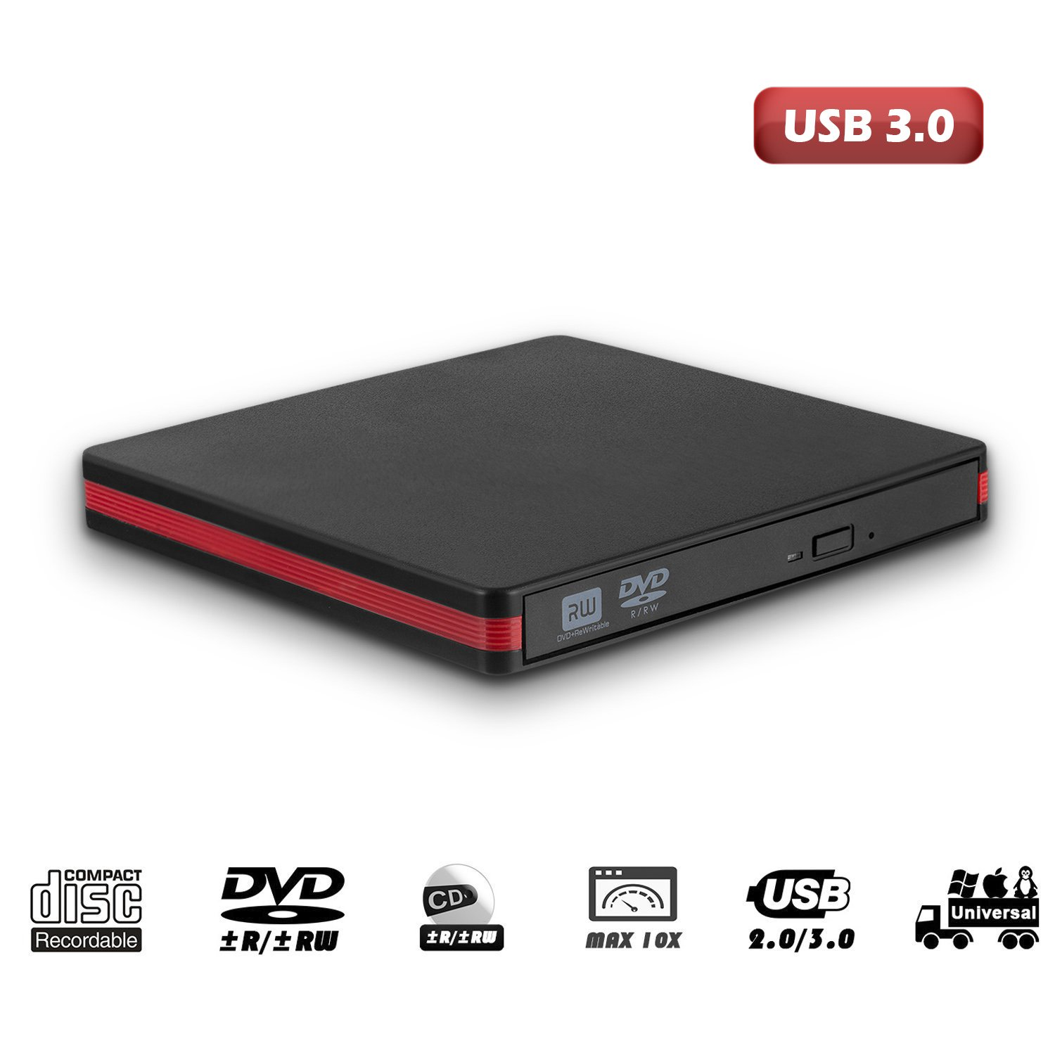 USB 3.0 External CD Drive, MiluoTech Protable CD DVD Drive High Speed Data Transfer DVD CD +/- RW Writer Burner Rewriter DVD/CD-ROM Drives for Laptop Desktops Windows Mac OSX