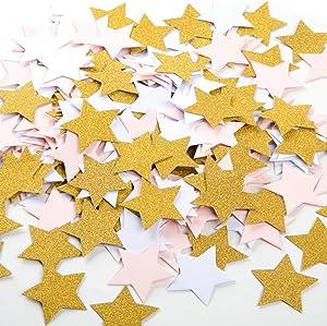 MOWO Glitter Five Stars Paper Confetti, Wedding Party Decor and Table Decor, 1.2'' in Diameter (glitter gold,pink,white,200pc)