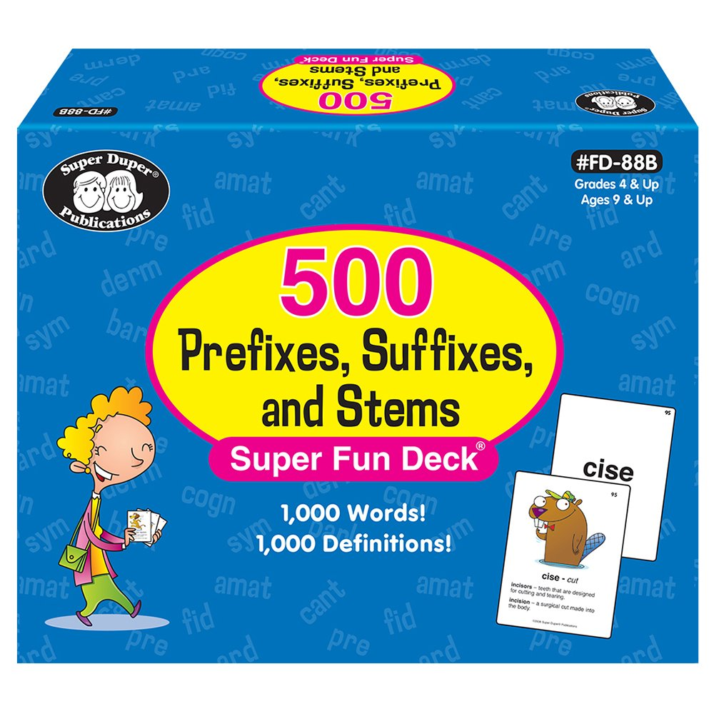 Super Duper Publications 500 Prefixes, Suffixes, and Stems Fun Deck Words & Definitions Flash Cards Educational Learning Resource for Children
