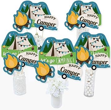 Happy Camper – Varillas de centro de mesa para camping o fiesta de cumpleaños – Juego de 15: Amazon.es: Juguetes y juegos